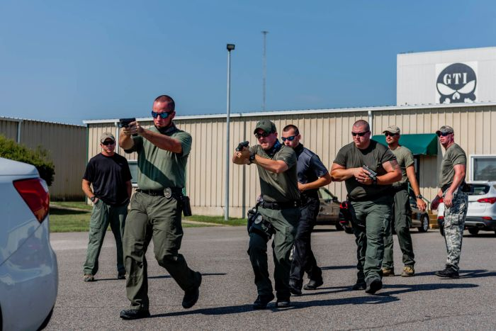 Students practicing vehicle assaults during our Advanced SWAT Course.