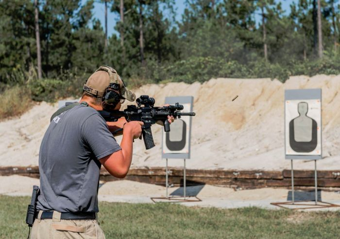 A hot day with some hot brass while civilians attend our Gunfighter Carbine course.