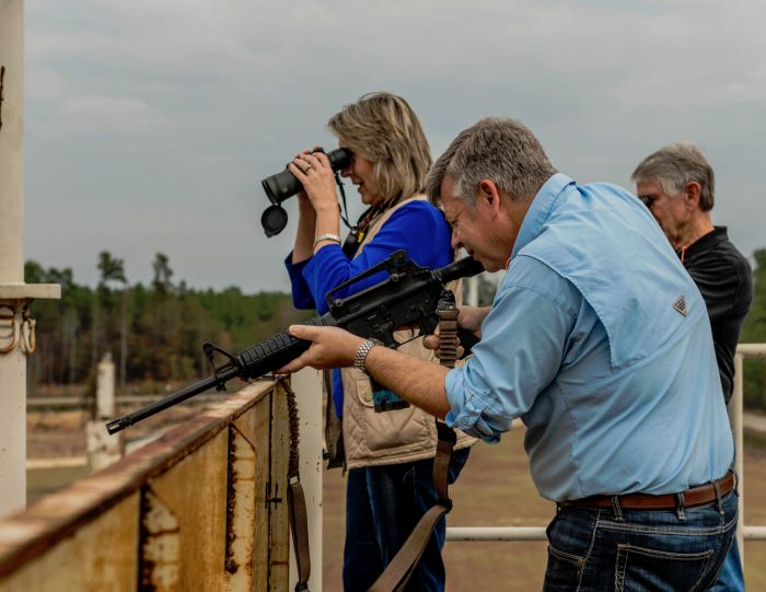 During this Corporate Team Building Event we hosted at our facility.  Participants had to work together as sniper and spotter calling out assigned targets to the shooter.
