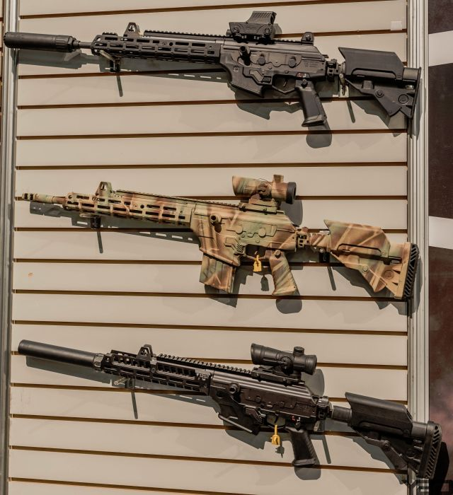 A wall of Galil's at the IWI booth at SHOT Show 2019.
