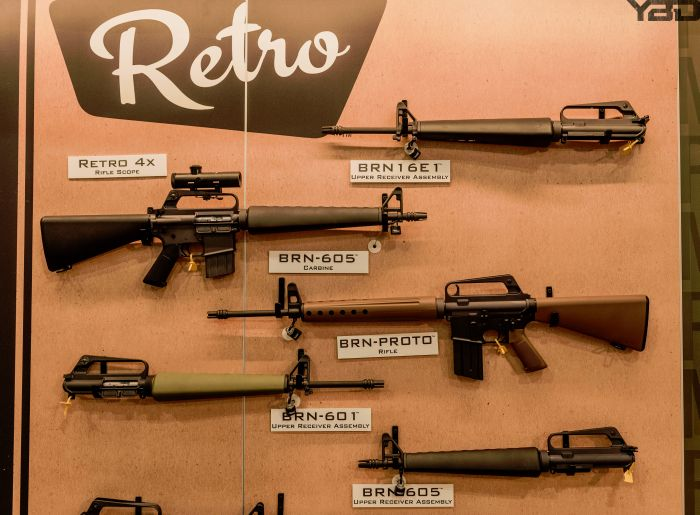 Such a cool display of retro rifles at the Brownell's booth at SHOT Show 2019.