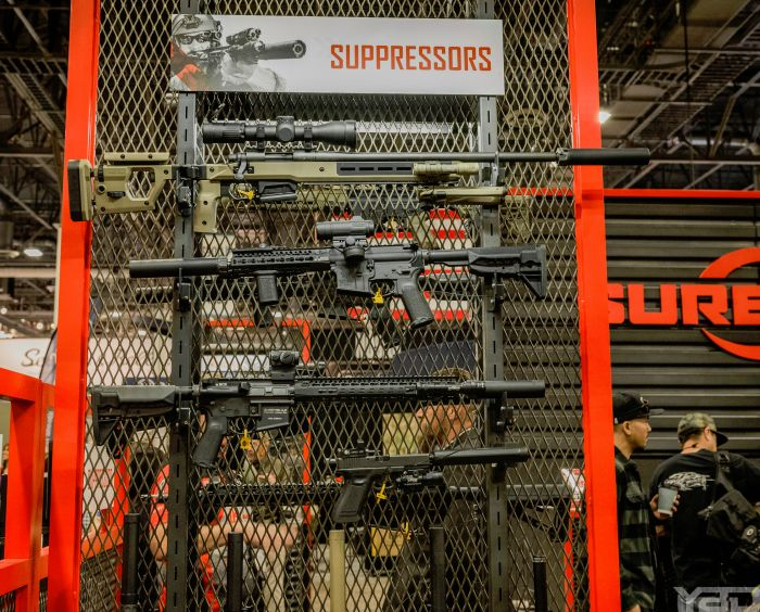A whole bunch of Surefire Suppressors at the Surefire at SHOT Show 2019.