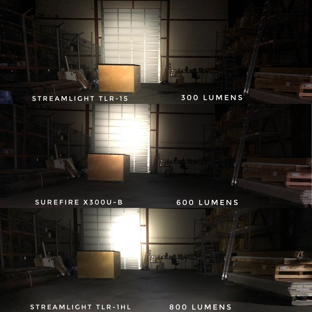 A comparison of all three lights in the same blacked out environment.