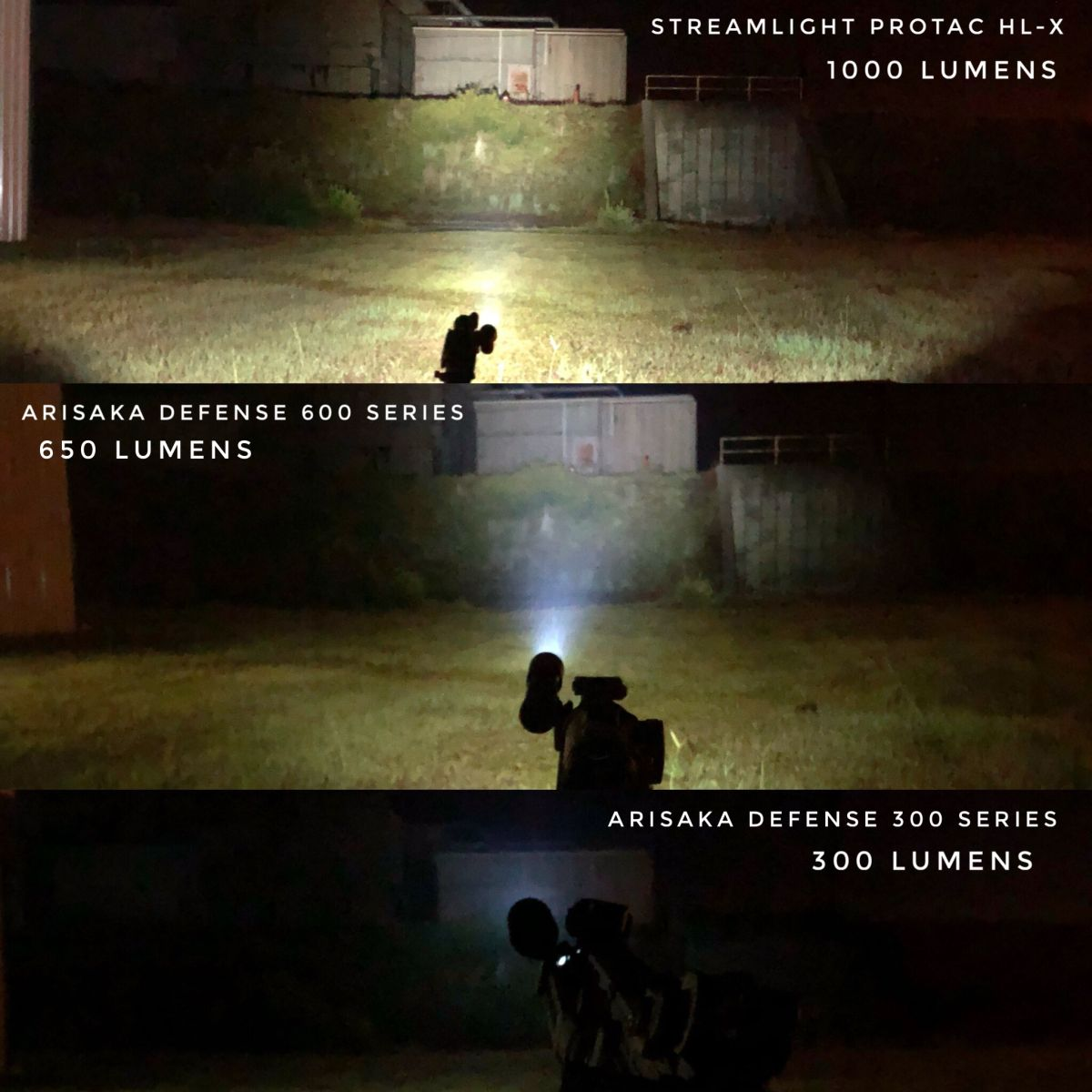 A comparison of all three lights shown at the same object from the same distance.