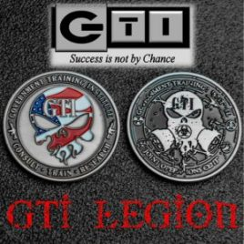 GTI Challenge Coin With American Flag Skull Logo