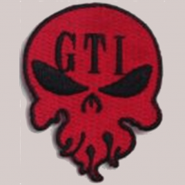 GTI Iron On Skull Patch Red 2″