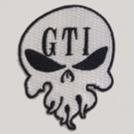 GTI Iron On Skull Patch White 1″