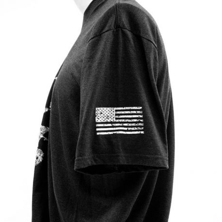 T Shirt Black GTI Skull Flag Sleeve