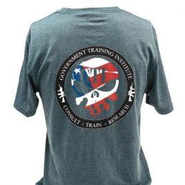 Tee Tri-Blend Navy American Flag Skull Design