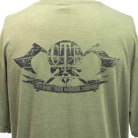 T Shirt Military Green GTI Skull Broadaxe Back Logo