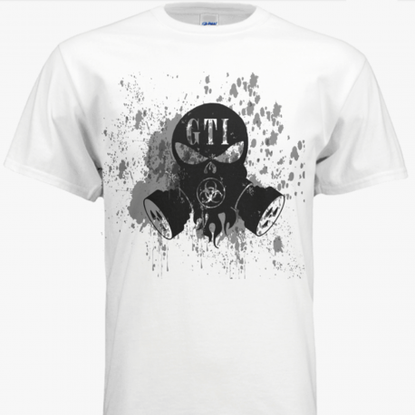 T Shirt White GTI CBRNE Logo GTISkull Logo Front