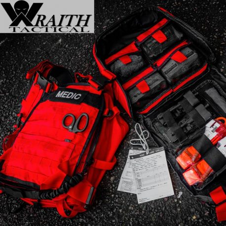Wraith Tactical CARR Pack Gen 2 Red With Large Utility Bag Open
