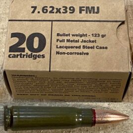 Barnaul 7.62X39 FMJ 123 Grain Lacquered Steel Case Sealed Primer and Bullet Case Neck Non Corrosive Box of 20 Cartridges
